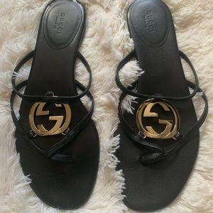 Gucci Flip Flop Sandals Black with Gold Hardware